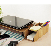 《佶之屋》木質DIY可調式螢幕/筆電附收納架胡桃