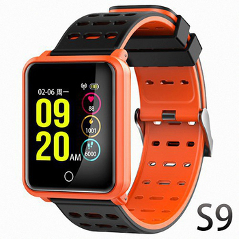 《U-ta》彩色屏方款運動防水心率手環S9(公司貨)(橘色)