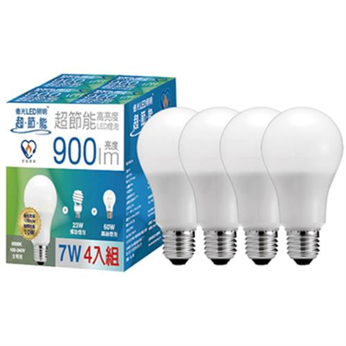 億光 7W超節能LED球泡 四入組 LBA/ECO60Q/7W/830/UNI/E27&#160(白光)