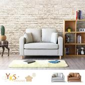 《YKSHOUSE》新井二人座貓抓皮獨立筒沙發(二色可選)(咖啡色)
