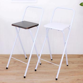 頂堅 鋼管(木製椅座)高腳折疊椅/吧台椅/高腳椅/櫃台椅/餐椅/洽談椅(二色可選)(深胡桃木色)