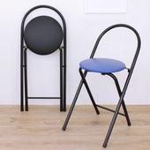 《頂堅》鋼管(PU泡棉椅座)折疊椅/餐椅/洽談椅/休閒椅/摺疊椅(二色可選)(黑色)
