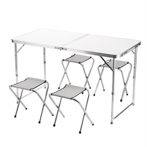精實板鋁合金摺疊桌椅組-一桌四椅(120X60X40-70cm)