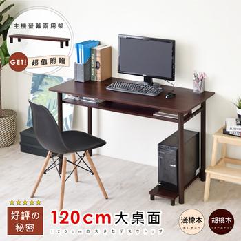 《Hopma》多功能巧收圓腳工作桌(胡桃木)