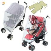 《月陽》通用型透氣兒童推車防蚊罩防雨罩亞麻草蓆涼蓆涼墊超值組(PX20)
