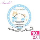 《AMONKA》3R神奇無痕掛勾金魚造型牙刷架(粉藍熊)2入