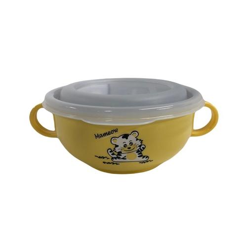 《斑馬牌》雙耳兒童碗 (附湯匙上蓋) 250ml 顏色隨機(11CM)