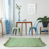 《halla malmo》印式工藝 黃麻編織地墊 淺藍 Burma Plain-Light Blue(40*60 cm)