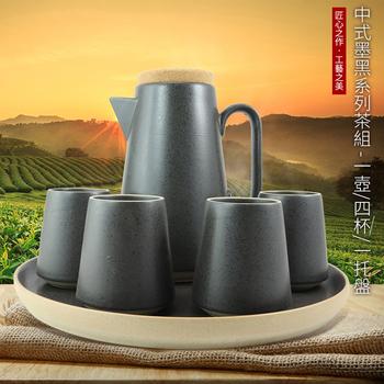 《SCENEAST》中式墨黑系列茶組((一壺/四杯/一托盤))