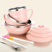 《佶之屋》馬卡龍純色304不鏽鋼餐具湯匙學習筷組(可愛粉)