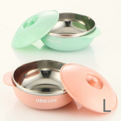 《佶之屋》馬卡龍純色304不鏽鋼有蓋餐杯碗(L)(雙耳碗-粉)