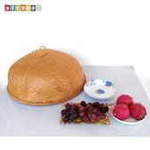 《DecoBox》圓形竹編煙薰桌罩(直徑50)(宴王.燈罩.露營食物罩,野餐)