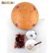《DecoBox》圓形竹編繡花桌罩(直徑50)(宴王.燈罩.露營食物罩,野餐)