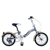《BIKEONE》LP1  SHIMANO 16吋6速摺疊兒童腳踏車 超輕便好攜好摺 節省空間 攜帶方便小折自行車(鐵灰)