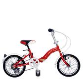《BIKEONE》LP1  SHIMANO 16吋6速摺疊兒童腳踏車 超輕便好攜好摺 節省空間 攜帶方便小折自行車(紅色)