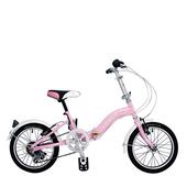 《BIKEONE》LP1  SHIMANO 16吋6速摺疊兒童腳踏車 超輕便好攜好摺 節省空間 攜帶方便小折自行車(粉色)