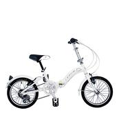 《BIKEONE》LP1  SHIMANO 16吋6速摺疊兒童腳踏車 超輕便好攜好摺 節省空間 攜帶方便小折自行車(白色)