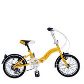 《BIKEONE》LP1  SHIMANO 16吋6速摺疊兒童腳踏車 超輕便好攜好摺 節省空間 攜帶方便小折自行車(黃色)