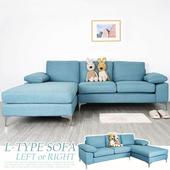 《Homelike》愛麗絲L型亞麻布沙發(湖水藍)左向 $12980