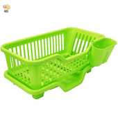 《月陽》大容量三件排水式碗盤收納瀝水架餐具架筷籠(442317)(藍色)