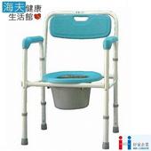 《海夫健康生活館》好家機械椅(未滅菌) 台灣製 鐵製 小塑背 硬墊 便盆椅(A124)(扶手藍色)