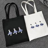 韓版裙襬女孩簡約帆布袋 購物袋 帆布包(白色)