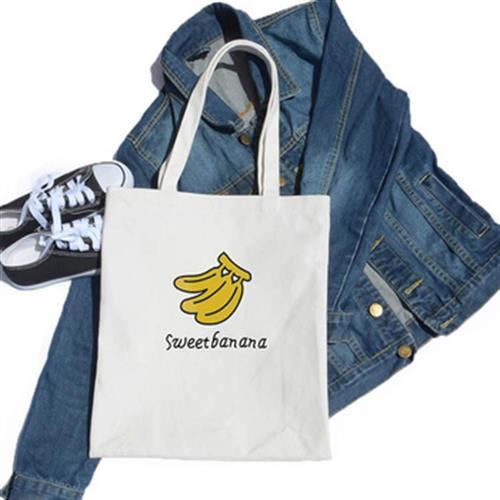 簡約風 香蕉帆布袋 購物袋 帆布包(白色)