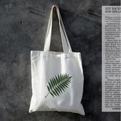 小清新 簡約一葉帆布袋 購物袋 帆布包(白色)