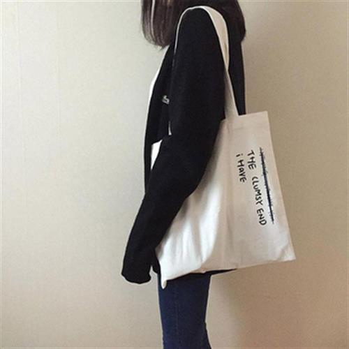簡約英文字串帆布袋 購物袋 帆布包(白色)