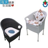 《海夫健康生活館》鋁藤製 固定式 兩用 便盆椅 藤愛椅(JI8510)