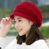 《幸福揚邑》麻花針織毛線帽防風保暖加絨貝蕾帽兔毛帽(麻花兔毛帽-紅)