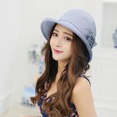 《幸福揚邑》日韓防曬抗UV大帽檐捲邊棉麻可摺疊遮陽帽花朵漁夫帽(花朵漁夫帽-藍)