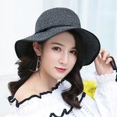 《幸福揚邑》日韓防紫外線可折疊大檐帽綁帶棉紗防曬遮陽帽(綁帶遮陽帽-黑色)