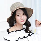 《幸福揚邑》日韓防紫外線可折疊大檐帽綁帶棉紗防曬遮陽帽(綁帶遮陽帽-卡其)