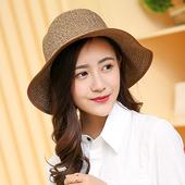《幸福揚邑》日韓防紫外線可折疊大檐帽綁帶棉紗防曬遮陽帽(綁帶遮陽帽-咖啡色)