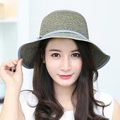 《幸福揚邑》日韓防紫外線可折疊大檐帽綁帶棉紗防曬遮陽帽(綁帶遮陽帽-灰藍色)