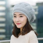 《幸福揚邑》棱紋小顏毛線帽雙層保暖護耳防風兔毛針織貝蕾帽(棱紋貝蕾帽-淺灰)
