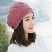 《幸福揚邑》棱紋小顏毛線帽雙層保暖護耳防風兔毛針織貝蕾帽(棱紋貝蕾帽-粉紫)