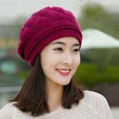 《幸福揚邑》棱紋小顏毛線帽雙層保暖護耳防風兔毛針織貝蕾帽(棱紋貝蕾帽-酒紅)