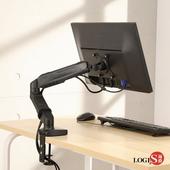 LOGIS邏爵- 顯示器伸縮掛架 螢幕支架 桌夾增高 角度高度可調 彈簧懸臂 E01Z(黑色)