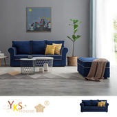 《YKSHOUSE》邁阿密L型乳膠布沙發-獨立筒版 加贈小椅凳一入