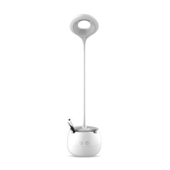 《FJ》LED柔光護眼檯燈(創意筆筒+手機架)(白色)