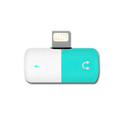 《ThL》iPhone傳輸/音源2合1雙Lightning轉接頭(膠囊型)(藍白色)