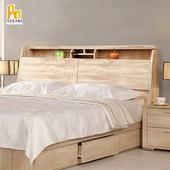 《ASSARI》藤原收納插座床頭箱(雙大6尺)(胡桃)