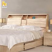 《ASSARI》杉原收納插座床頭箱(雙人5尺)(胡桃)