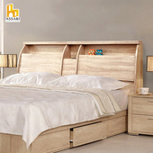 《ASSARI》杉原收納插座床頭箱(單大3.5尺)(胡桃)