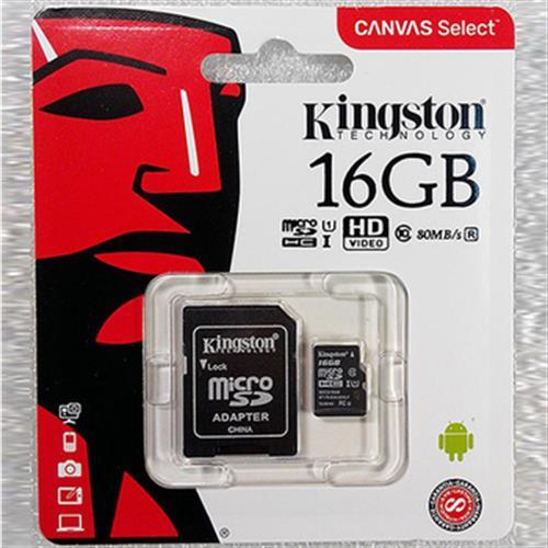 《金士頓》UHS-I U1 C10 16GB 記憶卡(附轉卡)