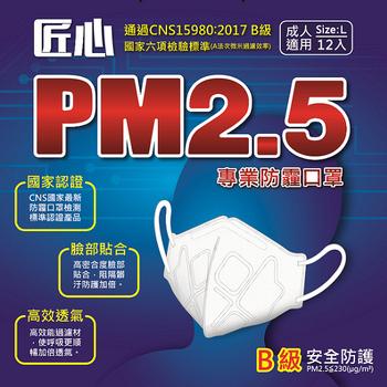 匠心 PM2.5專用 3D立體防護口罩12入/盒(白色1盒)