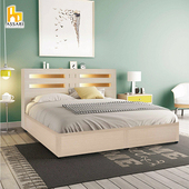《ASSARI》夏樂蒂內崁燈光機能型床組(床片+6分床底)單大3.5尺(胡桃)