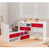 《TWO TONE》多用途桌上型伸縮置物架 (白 紅)